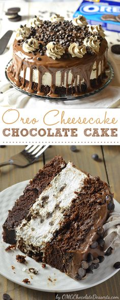 When you don't know what to make for dessert, a cake is always a good solution. This time, my choice was the decadent Oreo Cheesecake Chocolate Cake and trust me, it wasn't a mistake. Oreo Cheesecake Chocolate Cake, so decadent chocolate cake recipe. Just Desserts, Delicious Desserts, Dessert Recipes, Yummy Food, Dessert Ideas, Appetizer Recipes, Decadent Chocolate Cake, Chocolate Desserts, Oreo Desserts