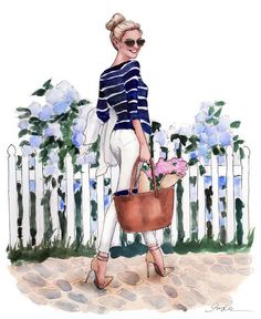 illustration by Inslee Haynes Cute Illustration, Watercolor Illustration, Fashion Painting, Fashion Art, Fashion Sketches, Fashion Illustrations, Mode Outfits, Fashion Pictures, Art Drawings