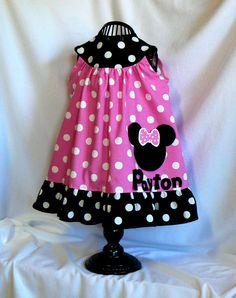 Minnie Mouse Dress Pink Toddler Girls Childrens by MontanaTwirls, $49.00