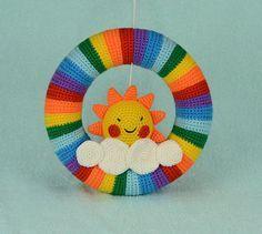 Door wreath Crochet wreath baby wreath rainbow wreath