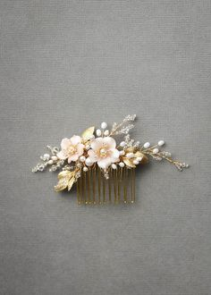 BESPOKE for Marcella | Pearl bridal hair comb with blush flowers 1