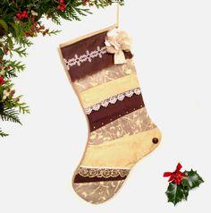 Shabby Chic Christmas Stocking Holiday by atonydesignbytony