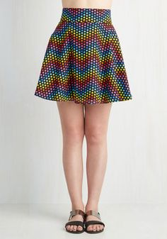 Celestial Next Time Skirt. Blast off from one social engagement to the next in the memorable style of this star-printed skirt. #multi #modcloth