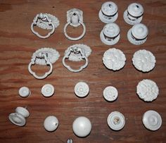 20 vintage white painted knobs ring pullslion by BandCEmporium, $82.95