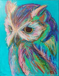 Owl on Teal