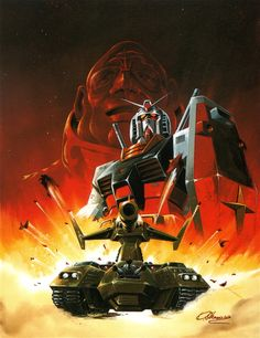 Animage - Animage Cover Illust Collection - Mobile Suit Gundam illustrated by Kunio Okawara Mecha Suit, Gundam Art, Gundam Wing, Zeta Gundam, Gundam Mobile Suit, Mecha Anime, Retro Video Games, Gundam Model, Anime Comics