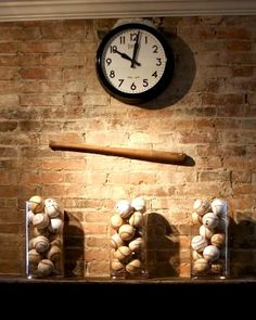 That's kinda awesome for display idea for baseball memorabilia or for the son's game winning balls =) Minus the clock!