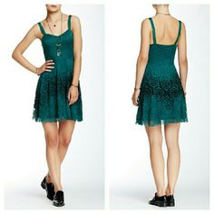 Free People Green Lace Dress NWT. Adjustable straps. Hidden side zip closure. Nylon/spandex and rayon blend. Free People Dresses