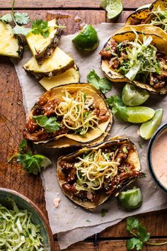 with spicy Yum Yum Sauce and crunchy slaw. Because loaded tacos are just better! Slow Cooker Recipes, Crockpot Recipes, Healthy Recipes, Chicken Recipes, Crockpot Dishes, Vegetable Recipes, Vegetarian Recipes, Cooking Recipes, Pulled Chicken Tacos