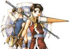 """Illustration of Jowy Atreides and the player's hero from """"Suikoden 2,"""" a console RPG released by Konami for the PlayStation in 1998 / 1999."""