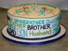 Husband Birthday Cake  ---> Great decorating idea for daddy's birthday! But with family stick people and words about daddy on sides!