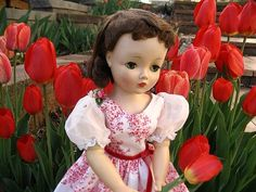 One of my Vintage Madame Alexander Cissy dolls in my tulip garden. www.DollDreamsByNatalie.com