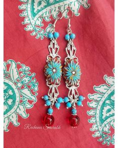 Turquoise Color, Turquoise Beads, Monthly Challenge, Joy And Happiness, Red Glass, Polymer Clay Earrings, Bead Art, Statement Earrings, Swarovski Crystals