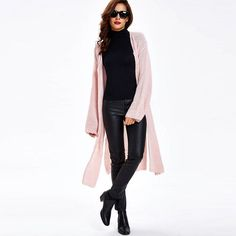 Clocolor Solid Sweater Cardigan For Female Split Up Casual Autumn Women Knitwear Coat Outwear Long Sleeve Knitted Cardigans