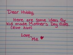 4 kid made Mother's Day Ideas for Daddy and kids to make.  Do you get home made gifts on Mother's Day?