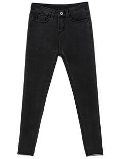 Pantalones denim elástico bolsillos-Sheinside