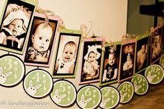 1st year birthday banner..have a picture of each month from birth to 12 months