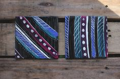 Feather Painted Coasters (Set of 2), Native Themed, Wine Glass Holders, Boho Kitchen, Gypsy Style Kitchen, Native American themed by LMNtalVibes on Etsy
