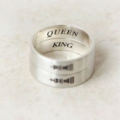 Vertical King and Queen Ring in sterling silverCouples by laonato