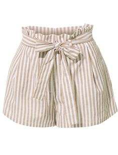 These breathable linen high waisted striped shorts with belt are so on trend! The clean, sophisticated cut on these shorts with Tie Shorts, Striped Shorts, Belted Shorts, High Waisted Shorts, Cream Shorts, Short Shorts, Casual Shorts, Short Outfits, Short Dresses