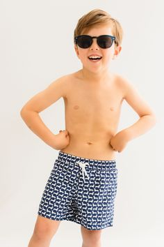 Navy and White Dachshund prints swim shorts with of profits going to named dog charities Kids Swimwear, Swimwear Brands, Dog Charities, Mini Me, Feeling Great, Swim Shorts, Navy And White, Dachshund, Charity