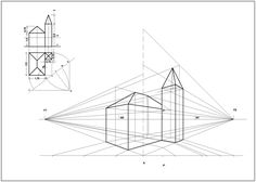 Prosp_chiesetta 1 Point Perspective, Perspective Drawing Lessons, Orthographic Drawing, Coordinate Geometry, Sketches Tutorial, Principles Of Art, House Drawing, Technical Drawing, Painting Techniques