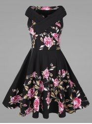 848104ce432 Criss Cross Plus Size Floral 1950s Pin Up Dress Floral Dresses