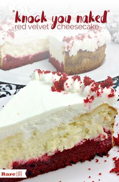 Knock You Naked Red Velvet Cheesecake! – My Incredible Recipes (red velvet cheesecake cupcakes) Red Velvet Cheesecake Cake, Red Velvet Cake Mix, Pumpkin Cheesecake, Christmas Cheesecake, Cheesecake Cupcakes, Raspberry Cheesecake, Mini Cupcakes, Food Cakes, Cupcake Cakes