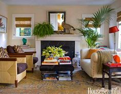 Living Room Decorating Ideas - Living Room Designs - House Beautiful Books under table