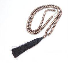 Черный кристалл Бисера Кисточкой Подвеска Длинное ожерелье Для Женщин Ювелирные Изделия