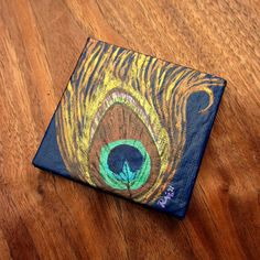Painting: Peacock Feather Original Miniature Acrylic, Mini No. 004