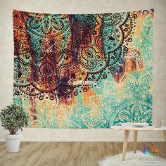 Boho Tapestry, Lotus Mandala tapestry wall hanging, bohemian decor, boho chic serene blue deco lotus mandala wall decor, boho bedspread, sacred art tapestry