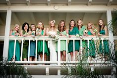 green mismatched bridesmaids dresses