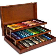 prismacolor colored pencils | Prismacolor pencil case...I want! | Colored Pencils I have the box with 120, but I LOVE how this one tiers the levels so you can see the full pencil...not to mention...how HOT is that wooden case?? Sorry, Prismacolor makes me drool..... :)