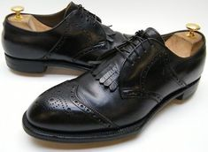 MENS-VTG-FOOTJOY-REX-BLACK-LEATHER-SPADE-SOLE-KILTIE-WINGTIP-GOLF-SHOES-SZ-11-B