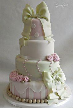 Beautiful Fondant Bow Cake Perfect for a Bridal Shower or Wedding