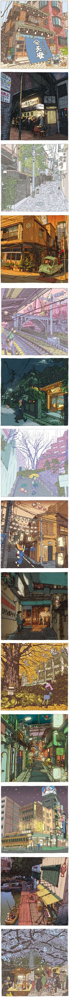Shinji Tsuchimochi's 100 Views of Tokyo | Lines and Colors :: a blog about drawing, painting, illustration, comics, concept art and other visual arts