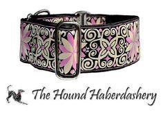 Martingale Collar Pink and Black Arabesque by TheHoundHaberdashery, $24.95