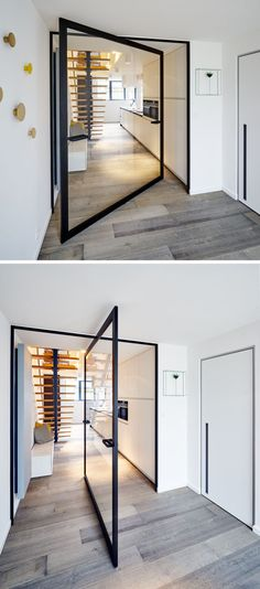 These Large Pivoting Doors Are Designed To Revolve This glass pivot door has a unique central pivoting hinge that allows it to swing in both directions, enabling the doors to revolve up to Interior Modern, Home Interior Design, Interior Architecture, Interior And Exterior, Interior Doors, The Doors, Windows And Doors, Home Theather, Sliding Door Design