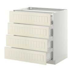 IKEA - METOD/FÖRVARA, Base cab f hob/4 fronts/4 drawers, white, Kroktorp off-white, 80x60 cm, , Smooth-running drawer with drawer stop.Sturdy frame construction, 18 mm thick.