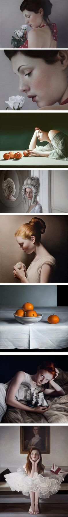 Mary Jane Ansell: Her portraits and other figurative paintings are elegant and highly refined, both in their paint handling and in her use of light to reveal form and texture. They can also feel intimate and, when she has her models engage the viewer directly, as she often does, they can be subtly piercing.