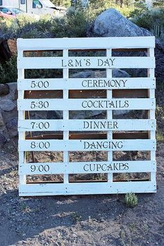 DIY Wedding using wood pallets!  It would be cute for an evening wedding to hang lights through out the wholes as well, even at the reception if it was in the evening. Cut idea none the less...