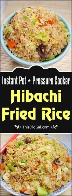 This Instant Pot Pressure Cooker Fried Rice recipe is as close to traditional Fried Rice, as you can get without using a Wok or Hot Cast Iron. via (easy vegetarian meals fried rice) Power Cooker Recipes, Pressure Cooking Recipes, Pressure Cooker Recipes Vegetarian, Rice Cooker Recipes, Fried Rice Recipe Rice Cooker, Hibachi Fried Rice, Arroz Frito, Instant Pot Dinner Recipes, Instant Pot Chinese Recipes