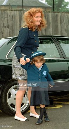 September 07, 1994--Sarah, Duchess Of York Holding Her Daughter <a gi-track='captionPersonalityLinkClicked' href='/galleries/personality/160237' ng-click='$event.stopPropagation()'>Princess Eugenie</a>'s Hand On Her First Day At Upton House School In Windsor.