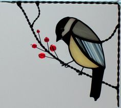 Corner stained glass bird