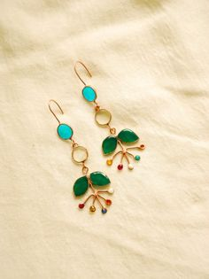 Copper earrings with flowers.