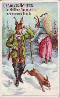 ♥CHROMO CACAO VAN HOUTEN - HARE IN HUNTING CLOTHES PASSES FEMALE HARE CARRYING A BASKET ON HER BACK by patrick.marks,
