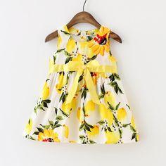 Novo Vestido Da Menina Do Bebê Vestido de Limão Criança Meninas Verão Roupas de…