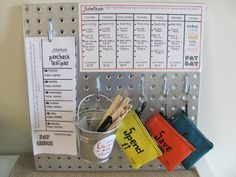 """This is amazing. The popsicle sticks in the bucket are the chores that need to be done and then marked off on the above chart. Then, the paycheck sheet to the left gets marked with the allowance made each day. At the end of the week, it's added up and paid, and the child separates the money into the three pouches, """"Spend it"""", """"Save it"""", and """"Give it"""". Such a great way to teach so many wonderful virtues."""
