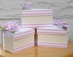 Hello, I had some extra flowers left so I decided to make Faye a birthday cake. For this cake, I created my own template. Cupcake Boxes, Box Cake, Cupcake Clipart, Cricut Cake, Light Cakes, Candy Crafts, Paper Cake, Craft Gifts, Tea Lights